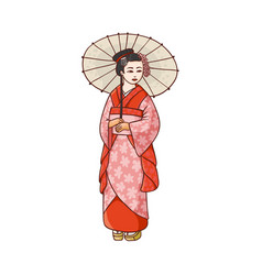 Beautiful geisha in japanese kimono with umbrella vector