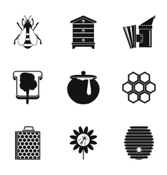 Beekeeping icons set simple style vector