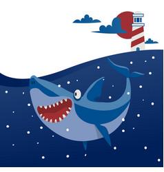 Big shark banner cartoon vector