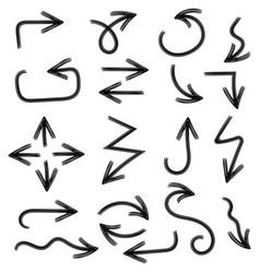 black arrows hand drawn doodle vector image