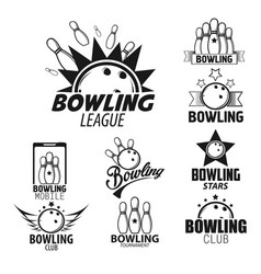 Bowling league isolated monochrome icons skittles vector