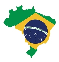 brazil map on brazil flag vector image