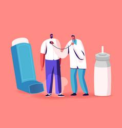 Breath with inhaler asthma medical care vector