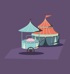 Carnival circus tent and food booth retro vector