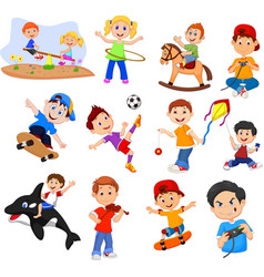 cartoon kids with different hobbies on a white bac vector image