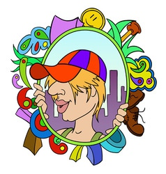 cartoon teen in cap with abstract urban background vector image