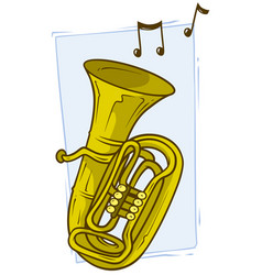 cartoon yellow copper tuba with musical notes vector image