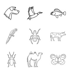 Cattle icons set outline style vector