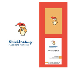 christmas penguin creative logo and business card vector image