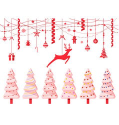 christmas pine trees and reindeer paper cut vector image