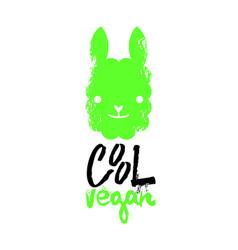 cool vegan slogan graphic with llama sign vector image