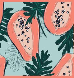 coral big papaya fruit drawing summer seamless vector image