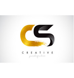 Cs letter design with brush stroke and modern 3d vector