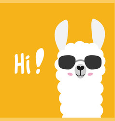 cute cartoon alpaca drawing on bright background vector image