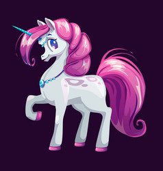 Cute cartoon unicorn with pink hair vector