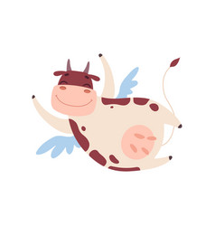 cute smiling cow flying with wings funny farm vector image