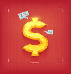 dollar sign golden jewel typeface element gold vector image