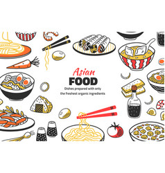 Doodle asian food background chinese cuisine vector