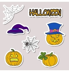 Doodle cartoon patch badges or stickers Halloween vector