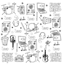 Doodle music tools set vector