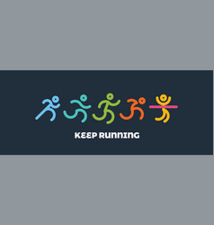 dynamic running people set sport and healthy vector image