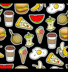Endless background with icons of food vector