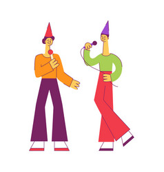 flat men singing song in picrophone vector image