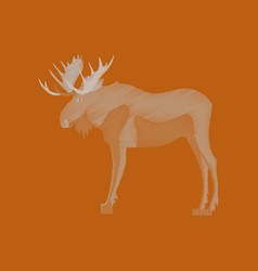 Flat shading style icon elk vector