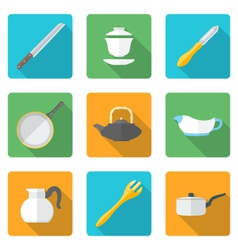 Flat style design dinnerware icons set vector