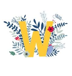 Floral alphabet letter w vector