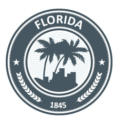 Florida emblem with palm tree and city silhouettes vector