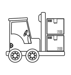 forklift cargo vehicle vector image