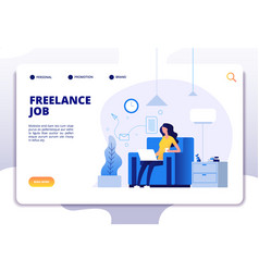 freelance concept girl freelancer on sofa working vector image