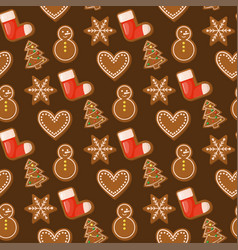 Gingerbread house christmas seamless pattern sweet vector