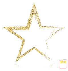 Gold christmas star isolated on white background vector