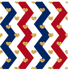 Gold heart seamless pattern red-blue-white vector