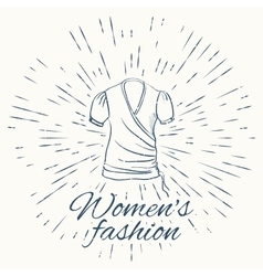 gown and vintage sun burst frame women fashion vector image