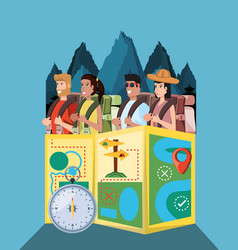 group of tourists and set icons vector image