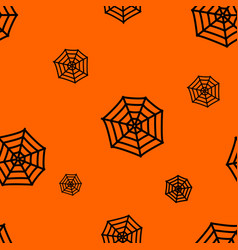 halloween orange background with spiders web vector image