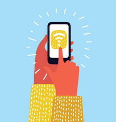 hand holding smartphone with wifi connect on vector image