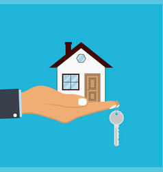 hand palm holds house and key on finger vector image
