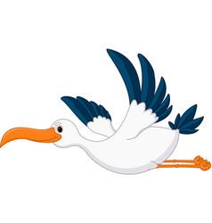 happy flying stork cartoon vector image