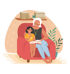 happy grandmother reading book with granddaughter vector image