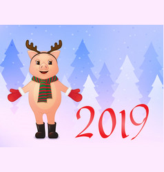 happy new year greeting card cute smiling pig in vector image