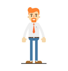 happy redheaded bearded clerk character vector image