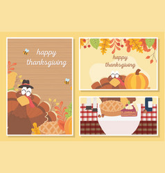 happy thanksgiving celebration posters turkey vector image