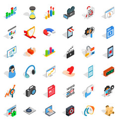 heart design icons set isometric style vector image