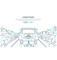 honeymoon - line design style banner vector image