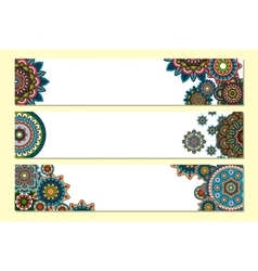 Horizontal mandalas headers for website vector image