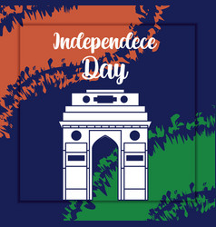 Independence day indian label with gate structure vector